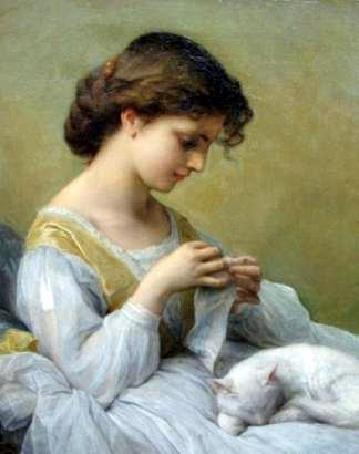 Girl In White Dress With Cat